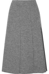Proenza Schouler Pleated Boiled Wool Wrap Midi Skirt Gray
