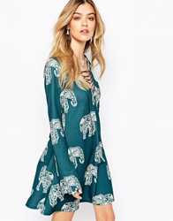 Missguided Elephant Print Swing Long Sleeve Dress Teal