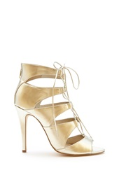 Forever 21 Metallic Lace Up Pumps Champagne