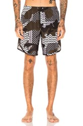 Neil Barrett Camouflage Swim Trunks In Abstract Black Green White Abstract Black Green White