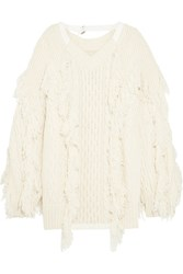 Sacai Fringed Cable Knit Wool Blend Sweater Off White
