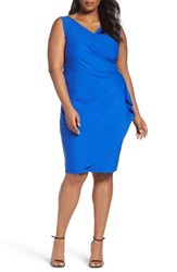 Alex Evenings Plus Size Women's Embellished Surplice Sheath Dress Royal