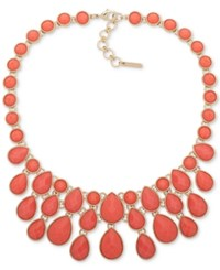 Nine West Gold Tone Colored Stone Statement Necklace 16 3 Extender Pink