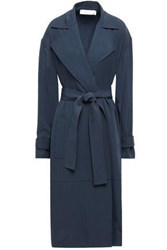 Victoria Beckham Woman Belted Twill Trench Coat Navy
