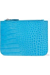 Iris And Ink Blake Croc Effect Leather Pouch Turquoise
