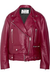 Acne Studios Merlyn Oversized Leather Biker Jacket Burgundy