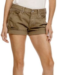 Lucky Brand Distressed Cotton Shorts Olive