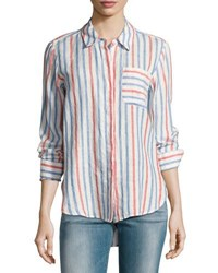 Vince Camuto Long Sleeve Sporty Striped Shirt Red White