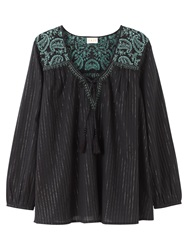 East Embroidered Lurex Blouse Black