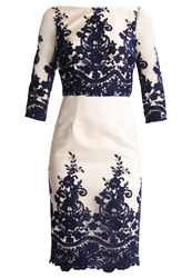 Chi Chi London Petite Faith Cocktail Dress Party Dress Ivory Navy Multicoloured