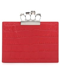 Alexander Mcqueen Embellished Leather Clutch Red