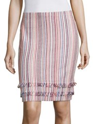 Boss Fabienne Striped Knit Skirt Poppy Red