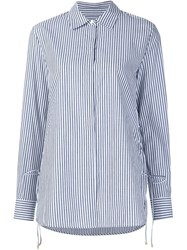 Derek Lam 10 Crosby Tie Side Pinstriped Shirt Blue