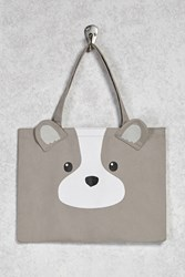 Forever 21 Puppy Graphic Eco Tote Grey Multi