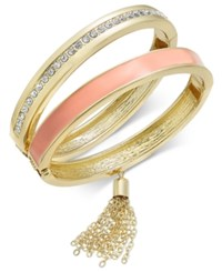 Inc International Concepts Gold Tone 2 Pc. Crystal And Enamel Tasseled Hinged Bangle Set Only At Macy's