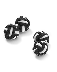 The Men's Store At Bloomingdale's Round Knot Cufflinks Black White