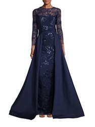 Rickie Freeman For Teri Jon Embellished Lace Overlay Gown Navy