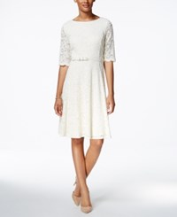 Charter Club Petite Belted Lace Fit And Flare Dress Only At Macy's Vintage Cream
