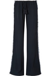 Figue Simone Fringed Crepe Wide Leg Pants Navy