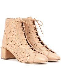 Acne Studios Mable Leather Ankle Boots Beige