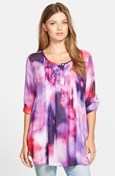 Casual Studio Pleat Front Peasant Blouse Nordstrom Exclusive Berry Water Print