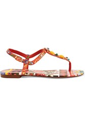 Dolce And Gabbana Embellished Printed Leather Sandals Red