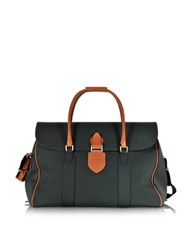 Pineider Country Dark Grey Fabric And Brown Leather Travel Bag Dark Gray