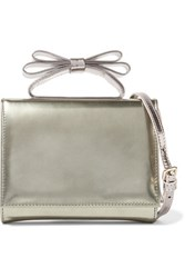 Red Valentino Redvalentino Mini Bow Embellished Metallic Leather Shoulder Bag Gold