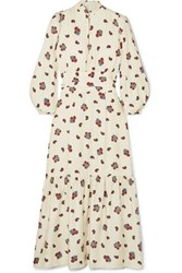 Rebecca De Ravenel Bailey Printed Silk And Wool Blend Twill Midi Dress White