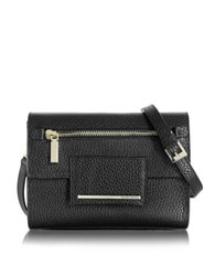 Francesco Biasia Nora Hammered Leather Clutch W Shoulder Strap Black
