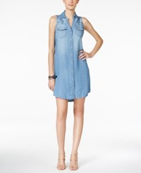 Inc International Concepts Petite Crochet Detail Indigo Wash Denim Shirtdress Only At Macy's