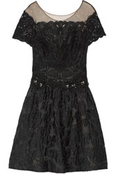 Marchesa Notte Embellished Tulle And Cloque Mini Dress Black