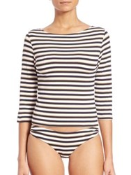 Melissa Odabash Nautical Three Quarter Sleeve Crop Top Sailor