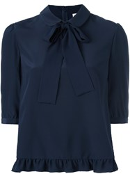Red Valentino Pussy Bow Blouse Blue