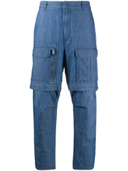 Juun.J Detachable Zip Off Cargo Trousers Blue