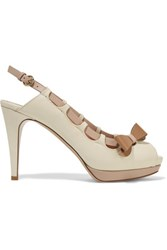 Valentino Bow Embellished Leather Pumps Ecru