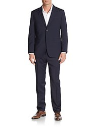 Moschino Regular Fit Stretch Wool Suit Navy