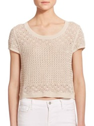 Alice Olivia Ester Beaded Pointelle Knit Crop Top Tan