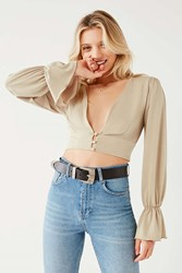 Urban Outfitters Uo Deep V Button Down Cropped Top Taupe