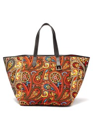 J.W.Anderson Belt Strap Paisley Print Leather Trimmed Tote Orange Multi