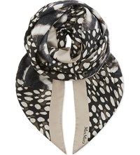 Max Mara Animal Print Silk Scarf Brown