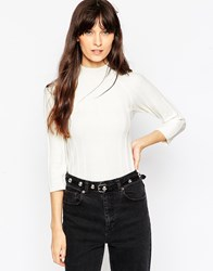Asos Turtle Neck Jumper In Variegated Rib White