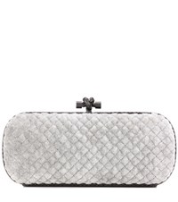 Bottega Veneta Stretch Knot Snakeskin Trimmed Velvet Intrecciato Baguette Clutch Grey
