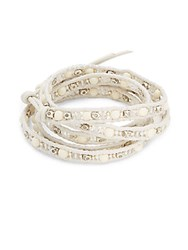 Chan Luu Buffalo Bone Quartz And Leather Bracelet White Mix