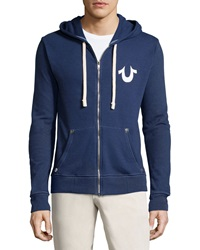True Religion Fleece Lined Hooded Zip Front Sweatshirt Navy White