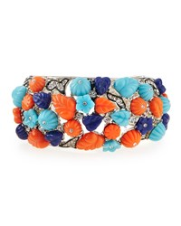 Deco Floral And Crystal Cuff Kenneth Jay Lane Turq Lapis Coral