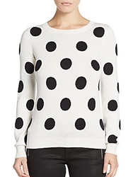 Saks Fifth Avenue Red Polka Dot Sweater Ivory Black