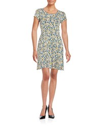 Michael Michael Kors Plus Floral Print Fit And Flare Dress Sunflower