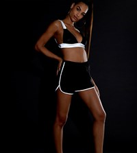 Daisy Street Runner Shorts With Reflective Taping Black