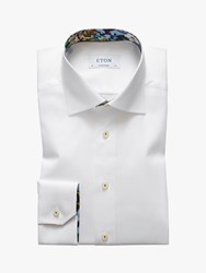 Eton Poplin Cotton Twill Tropical Contrast Shirt White